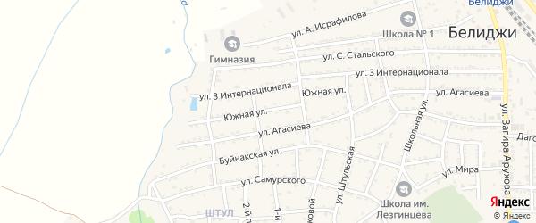 Южная улица на карте поселка Белиджи с номерами домов