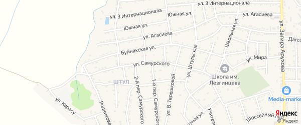 Улица Самурского на карте поселка Белиджи с номерами домов