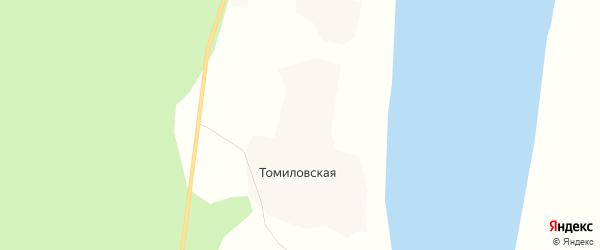 Карта Томиловской деревни в Архангельской области с улицами и номерами домов