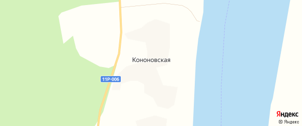 Карта Кононовской деревни в Архангельской области с улицами и номерами домов