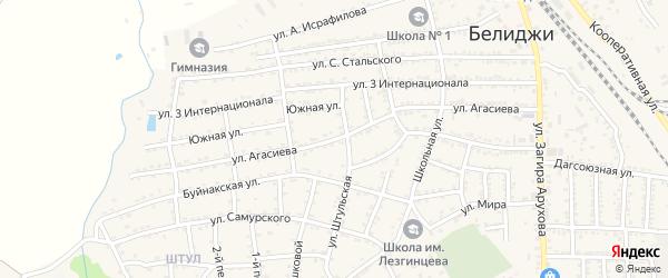 Улица Агасиева на карте поселка Белиджи с номерами домов