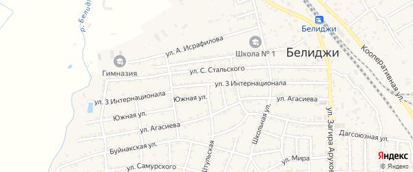 Улица Интернационала на карте поселка Белиджи с номерами домов