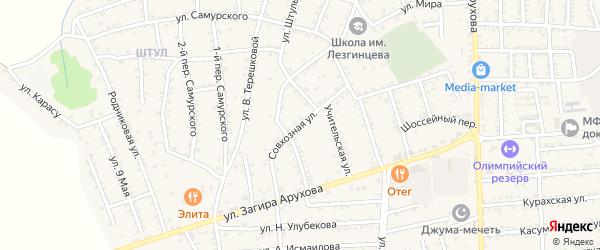 Совхозная улица на карте поселка Белиджи с номерами домов