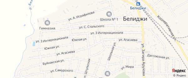 Переулок Агасиева на карте поселка Белиджи с номерами домов