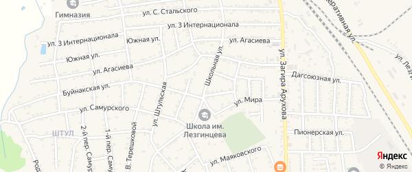 Школьная улица на карте поселка Белиджи с номерами домов