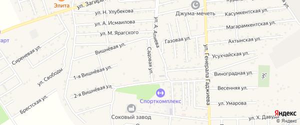 Садовая улица на карте поселка Белиджи с номерами домов