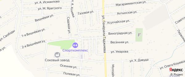 Улица Комарова на карте поселка Белиджи с номерами домов