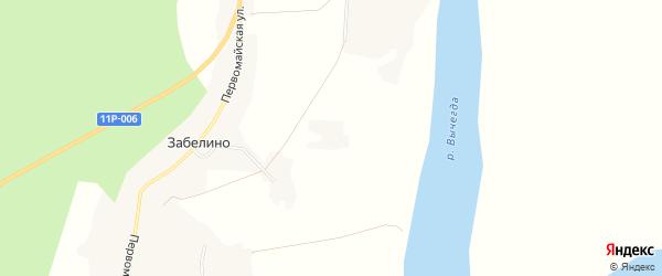 Карта деревни Забелино в Архангельской области с улицами и номерами домов