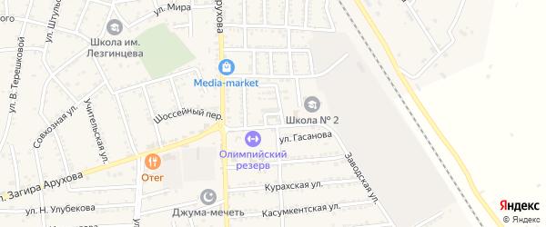 Заводская улица на карте поселка Белиджи с номерами домов