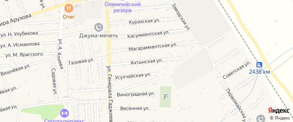 Ахтынская улица на карте поселка Белиджи с номерами домов