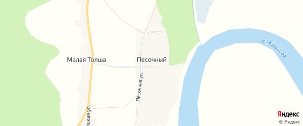 Карта Песочного поселка в Архангельской области с улицами и номерами домов
