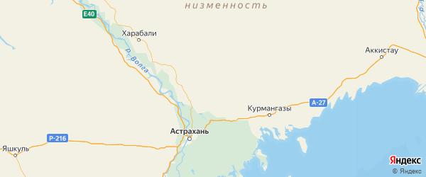 Карта Красноярского района Астраханской области с городами и населенными пунктами