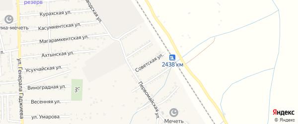 Советская улица на карте поселка Белиджи с номерами домов