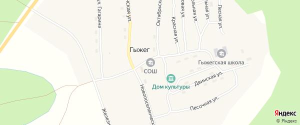Новопоселенческая улица на карте поселка Гыжега с номерами домов