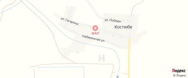 Набережная улица на карте поселка Костюбе с номерами домов