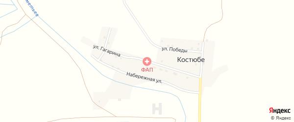Улица Гагарина на карте поселка Костюбе с номерами домов