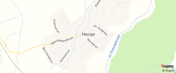 Карта села Нюгди в Дагестане с улицами и номерами домов