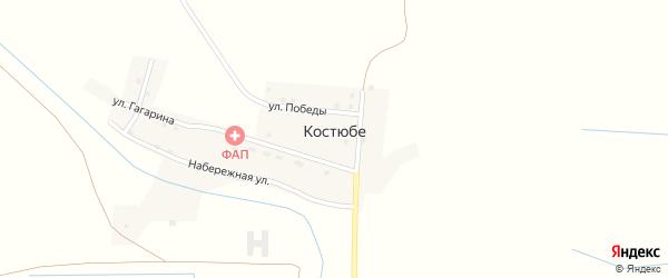 Солнечная улица на карте поселка Костюбе с номерами домов
