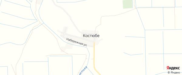 Карта поселка Костюбе в Астраханской области с улицами и номерами домов