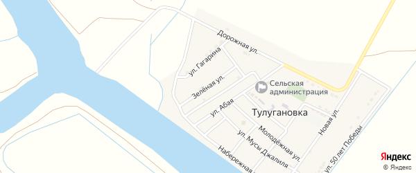 Зеленая улица на карте села Тулугановка с номерами домов