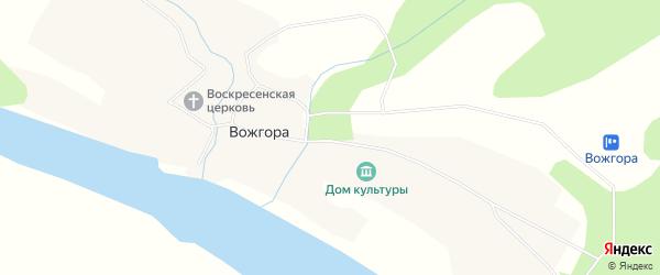 Карта села Вожгоры в Архангельской области с улицами и номерами домов