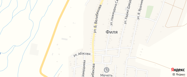 Улица Б. Велибекова на карте села Фили с номерами домов