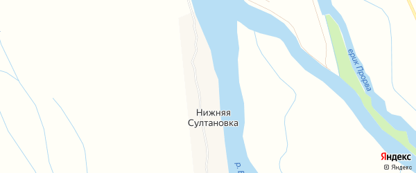 Карта села Средней Султановка в Астраханской области с улицами и номерами домов