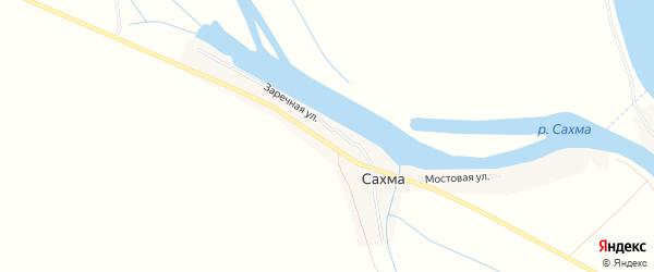 Карта села Сахма в Астраханской области с улицами и номерами домов