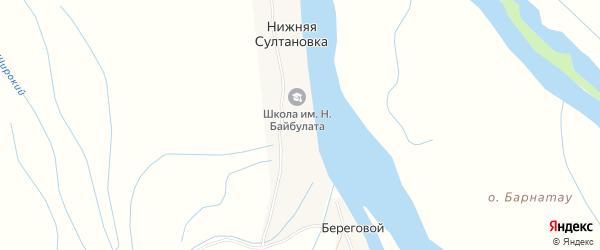 Карта села Нижней Султановка в Астраханской области с улицами и номерами домов