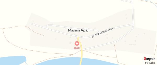 Набережная улица на карте села Малого Арал с номерами домов