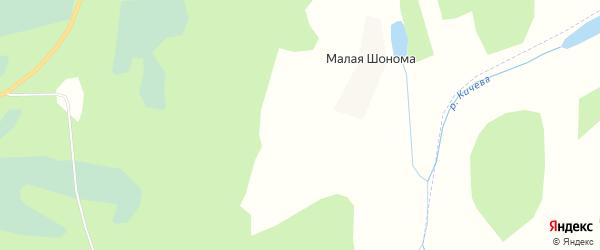 Карта деревни Малой Шономы в Архангельской области с улицами и номерами домов