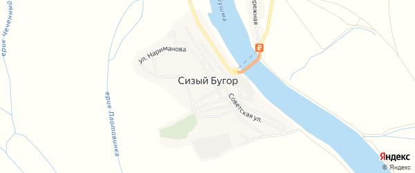 Карта села Сизого Бугра в Астраханской области с улицами и номерами домов
