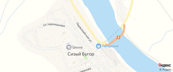 Первомайская улица на карте села Сизого Бугра с номерами домов