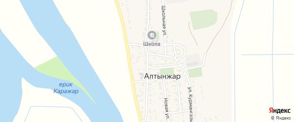 Центральная улица на карте села Алтынжар с номерами домов