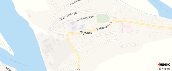 Заречная улица на карте села Тумака с номерами домов
