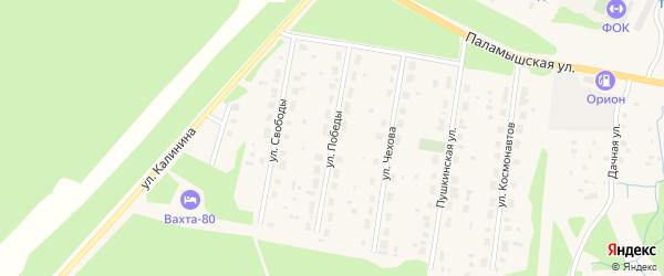 Улица Победы на карте поселка Урдома с номерами домов