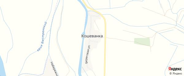 Карта села Кошеванка в Астраханской области с улицами и номерами домов