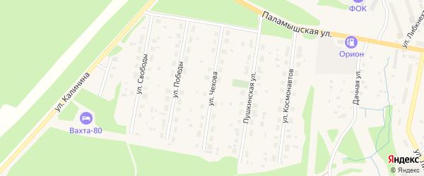 Улица Чехова на карте поселка Урдома с номерами домов
