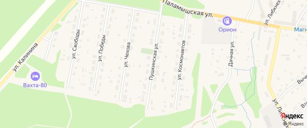 Пушкинская улица на карте поселка Урдома с номерами домов