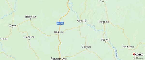 Карта Пижанского района Кировской области с городами и населенными пунктами