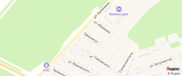 Таежная улица на карте поселка Урдома с номерами домов