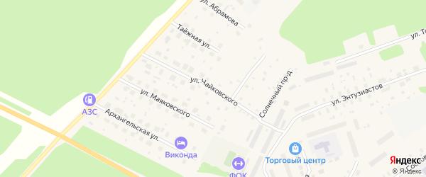 Улица Чайковского на карте поселка Урдома с номерами домов