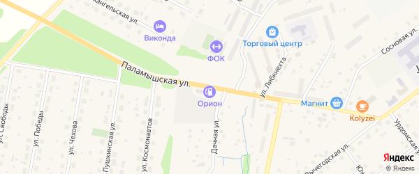 Паламышская улица на карте поселка Урдома с номерами домов