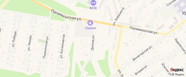 Дачная улица на карте поселка Урдома с номерами домов