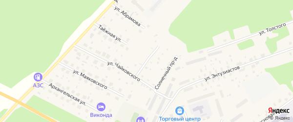 Проезд Чайковского на карте поселка Урдома с номерами домов