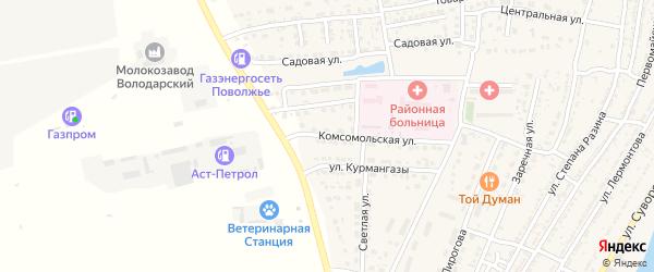Комсомольская улица на карте Володарского поселка с номерами домов