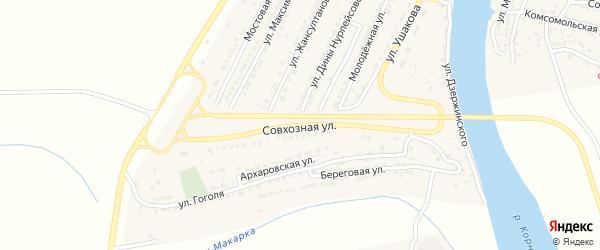 Совхозная улица на карте Володарского поселка с номерами домов