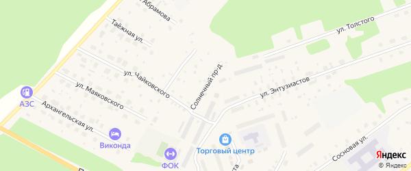 Солнечный проезд на карте поселка Урдома с номерами домов