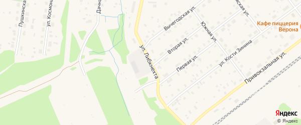 Улица Карла Либкнехта на карте поселка Урдома с номерами домов