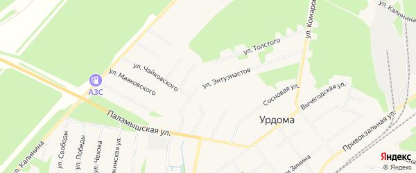 ГСК N2 на карте улицы Энтузиастов с номерами домов